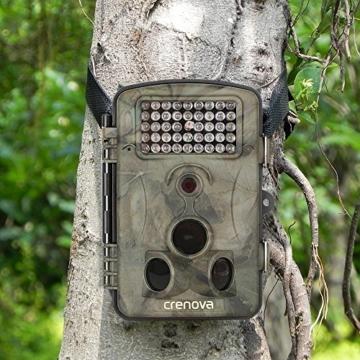 Crenova 12MP 1080P HD Wildkamera 120° Breite Vision Infrarote 20m Nachtsicht 2.4