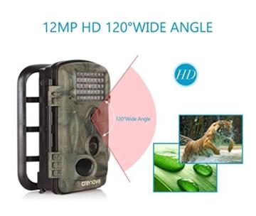 Crenova 12MP 1080P HD Wildkamera mit 16GB SD-Karte 120° Breite Vision Infrarote 20m Nachtsicht 2.4