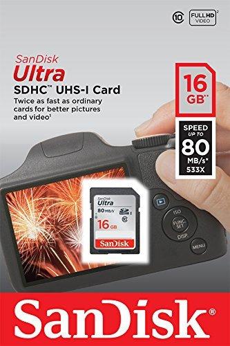 SanDisk Ultra 16GB SDHC bis zu 80MB/Sek, Class 10 Speicherkarte FFP -