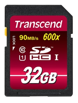 Transcend Ultimate-Speed SDHC Class 10 UHS-1 32GB Speicherkarte (bis 90MB/s Lesen) [Amazon Frustfreie Verpackung] -